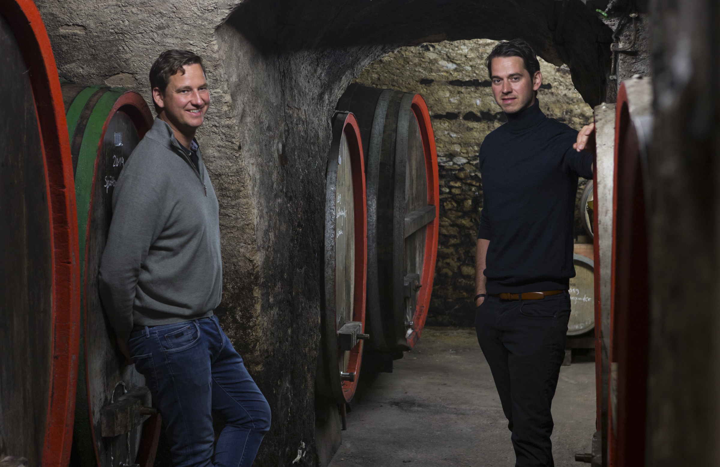 Johannes and Christoph Thörle in the Cave of their family winery. Andreas Durst