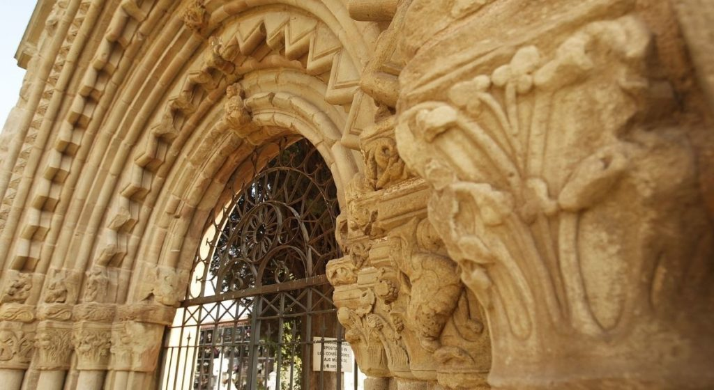 The ornate door to the Hospice of San Juan de Acre, now the entrance to the cemetery at Navarrete in La Rioja